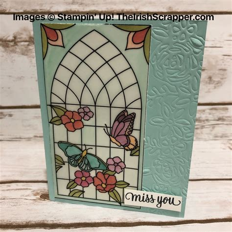 stampin  graceful glass vellum card  paper