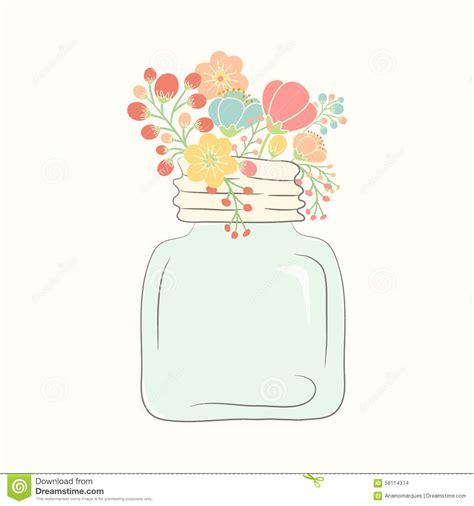 jar lights bouquet of wedding flowers in a glass jar stock