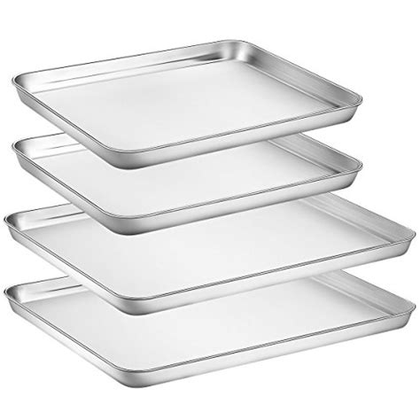 baking pans stainless steel oven sheets sets hkj chef toaster tray cookie pieces pan healthy toxic mirror clean non easy