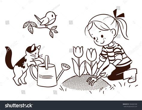 garden drawing  kids black  white newsglobenewsglobe