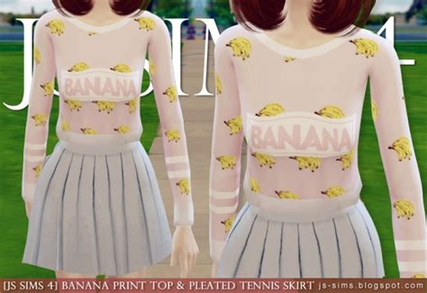 js sims  banana print top pleated tennis skirt sims