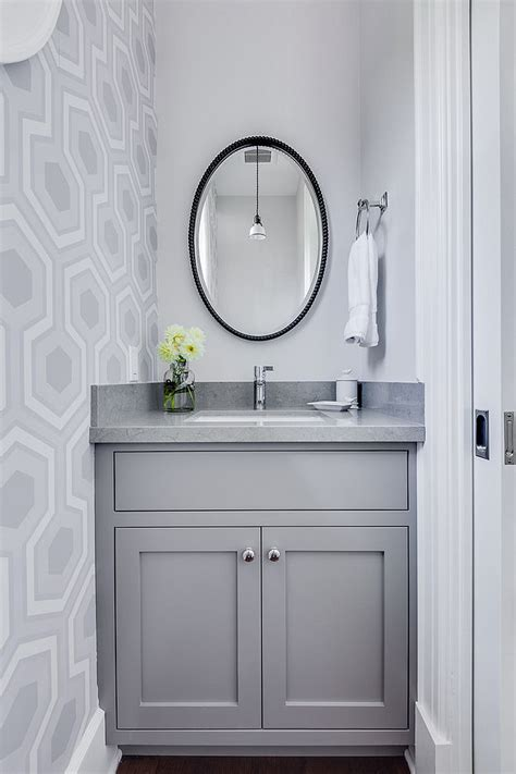 refined  refreshing trendy powder rooms  gray