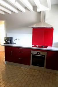 Plan De Travail Noir Brillant : cuisine rouge bordeaux brillant menuiserie s bastien ducamp ~ Dailycaller-alerts.com Idées de Décoration