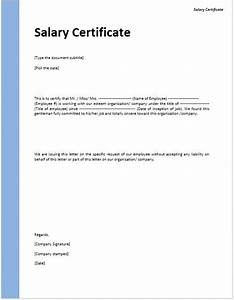 Format Of Salary Certificate Letter  23  Salary Certificate Formats