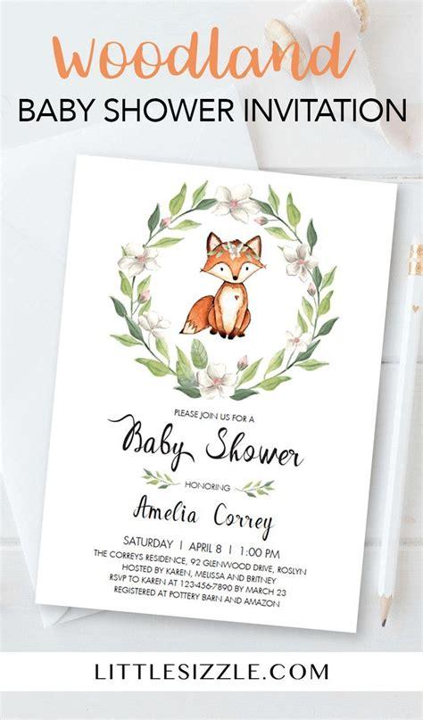 fox baby shower invitation template greenery woodland