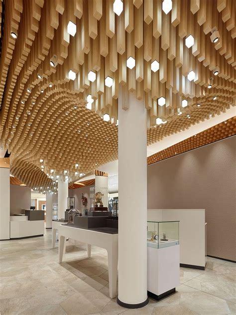 modern ceiling design idea  square wooden dowels