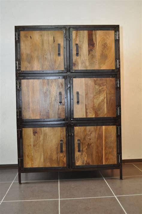 cuisine armoire bois massif et m 195 169 tal industrielle meubles et rangements armoire bois pas cher