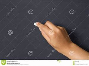 Hand Holds Chalk On Blackboard Royalty Free Stock Image ...