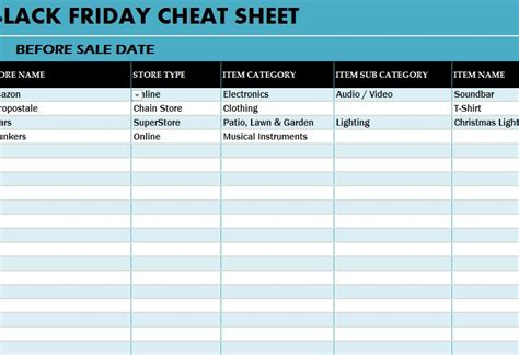 black friday deals cheat sheet  excel templates