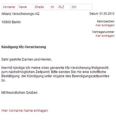 Kfz Versicherung Kuendigen by Allianz Kfz Versicherung K 252 Ndigungsschreiben