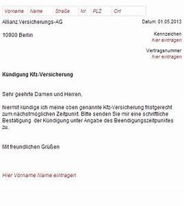 Versicherung Pkw Berechnen : allianz kfz versicherung k ndigungsschreiben ~ Themetempest.com Abrechnung