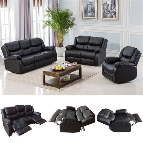 Leather Sofa Loveseat by Black Motion Sofa Loveseat Recliner Living Room Bonded