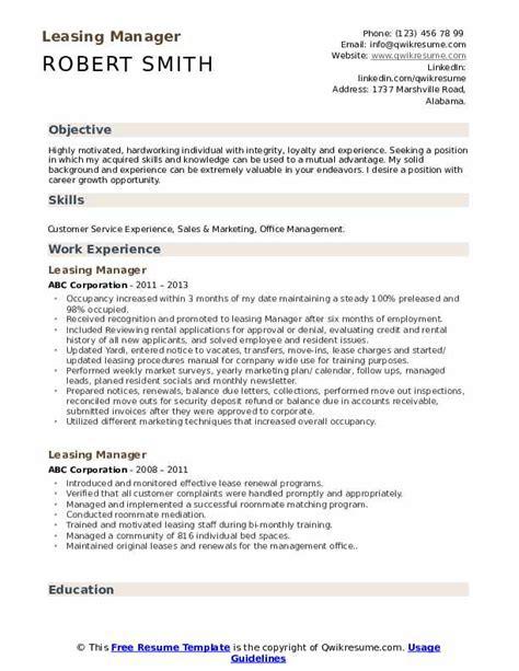 Rental Resume by Leasing Manager Resume Sles Qwikresume