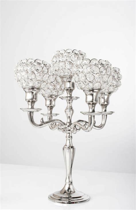 5 arm crystal candelabra wedding centerpieces votive