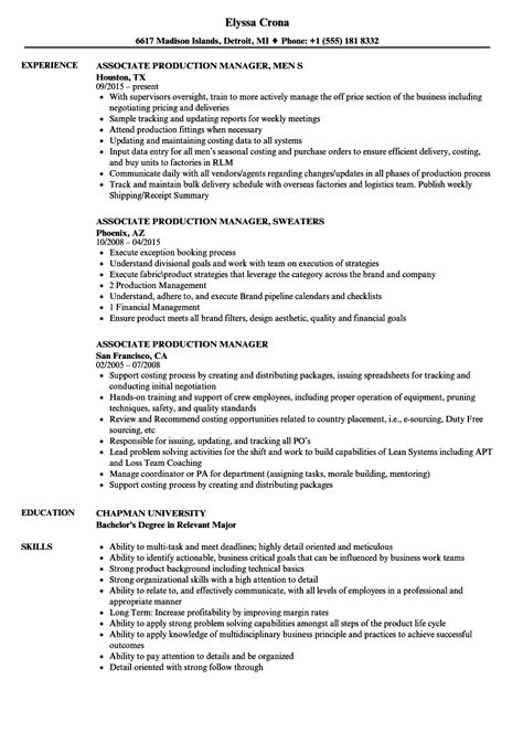 Production manager resume sample inspires you with ideas and examples of what do you put in the objective, skills, responsibilities and duties. Associate Production Manager Resume Samples | Velvet Jobs