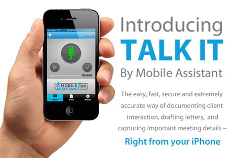 voice to text iphone mobile assistant launches iphone app talk it a high