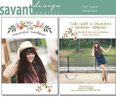 cute  graduation photography card template flowers