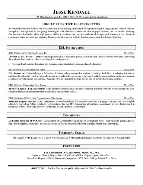 language instructor resume esl resume