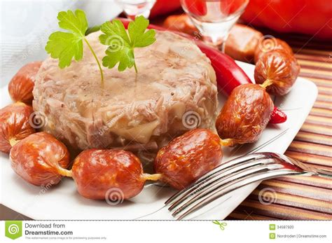 aspic cuisine traditional food aspic jelly stock photo