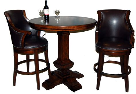 3 Piece Bar Table And Leather Swivel Stool Set  Ebay