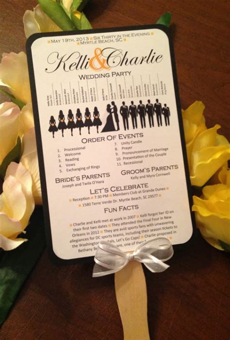 silhouette wedding progam paddle fan weddingbee photo