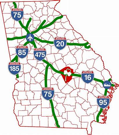 Map Georgia Transportation Counties Interstates Interstate County