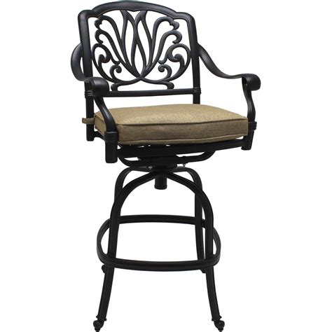 rosedown cast aluminum patio swivel bar stool by lakeview