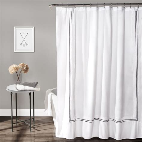 hotel collection shower curtain white gray