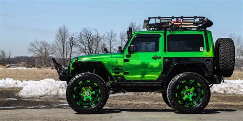 green jeep overland lime chrome jeep wrangler jk