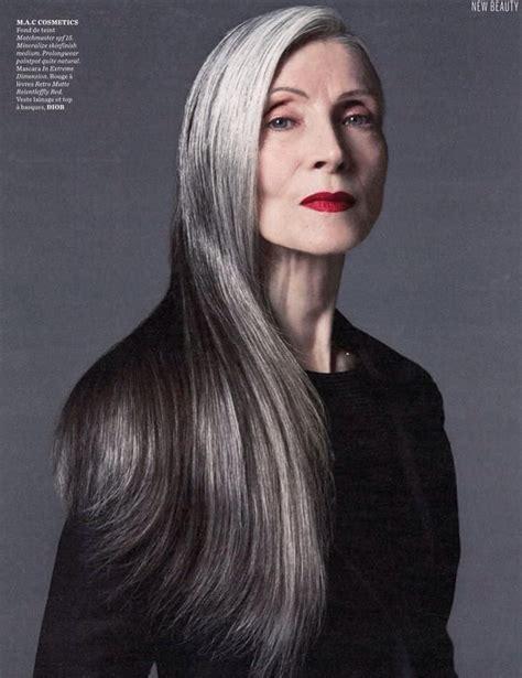 Older models: Eveline Hall Long gray hair Long hair