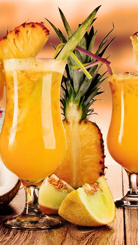 wallpaper cocktails juice fruit pineapple coconut