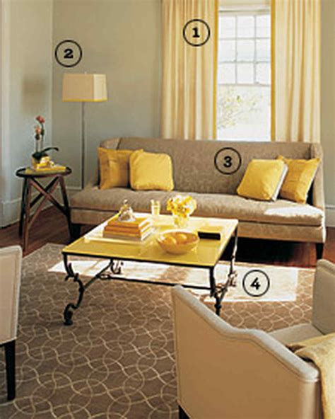 Blue Yellow And Beige Living Room by Yellow Rooms Martha Stewart