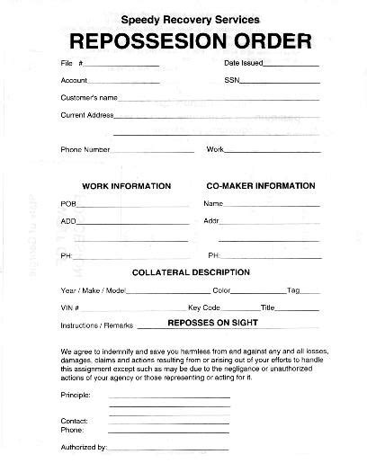 Motor Vehicle Release Form