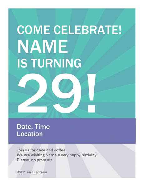 poster template word birthday poster