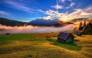 Wallpaper, Sunlight, Landscape, Sunset, Hill, Lake