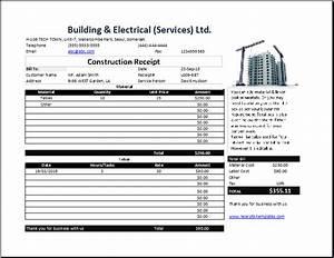 Construction receipt template free receipt templates for Construction receipt template