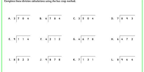 division bus stop method worksheets google search school stuff bus stop division bus stop