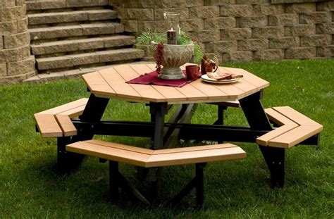 wood   build  wooden octagon picnic table  plans