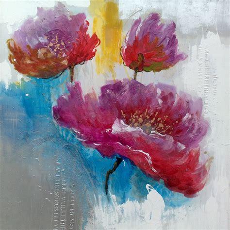peintures modernes de fleurs grand peintures de fleurs moderne toile fleur peinture objets d 233 coratifs pour le salon