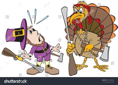 Cartoon Art Pilgrim Hunting Thanksgiving Dinner Stock