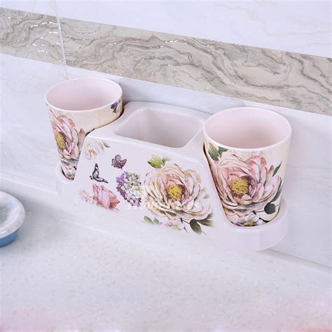 Suction Cup Resin Bathroom Accessories Sets Floral Pattern