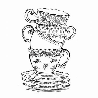 Zentangle Drawing Coloring Tea Patterns Teacup Drawings