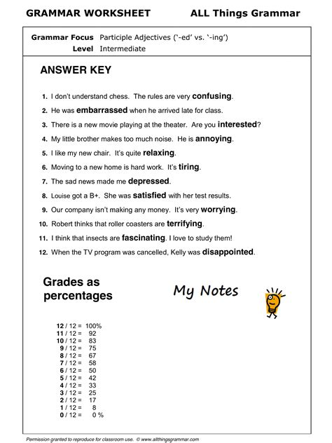 worksheet on participial adjectives worksheet exle