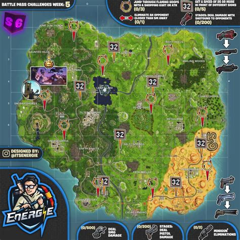 fortnite week 5 challenges sheet map for fortnite battle royale season 6 week