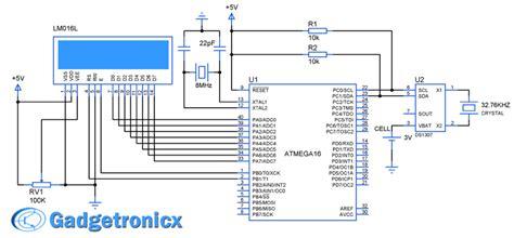 digital clock using avr atmega16 microcontroller gadgetronicx