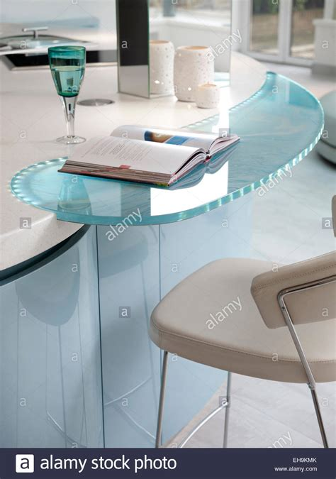 detail  blue  white curved glass inset breakfast bar