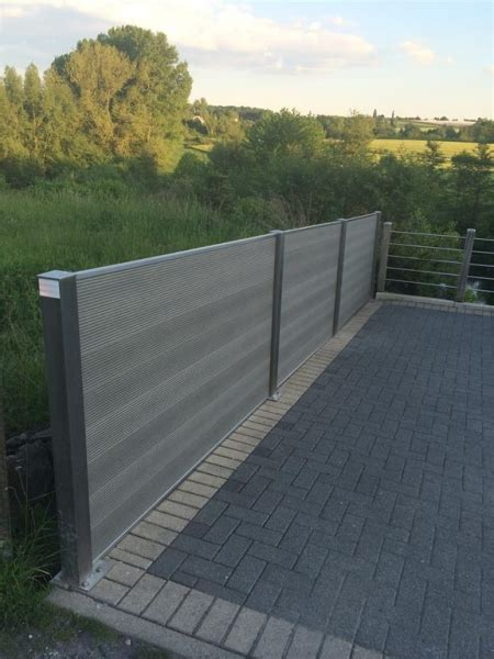 Sichtschutz Günstig by Wpc Sichtschutz Zaun Set Edelstahl 2 M Inkl 2 Pfosten Und 1