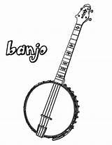 Banjo Coloring Pages Mandolin sketch template