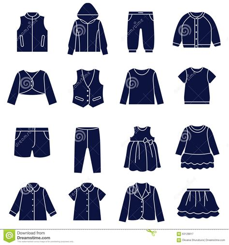 Icon Set Of Types Of Clothes For Girls And Teenagers Stock Vector - Image 63128817