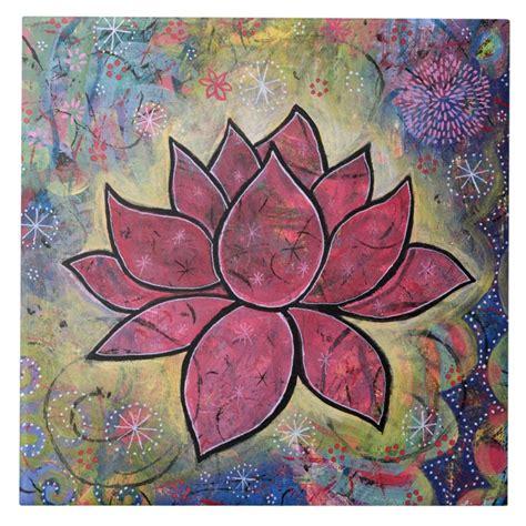Lotus Tile | Lotus painting, Lotus flower art, Lotus art